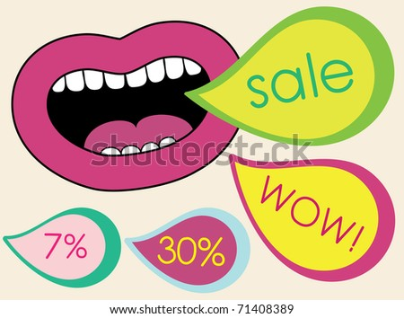 abstract lips. vector background - stock vector