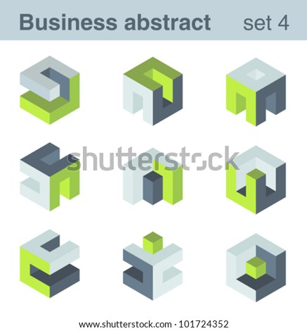 Abstract logic logo templates. Infinite shapes set. Success Team Concept - stock vector