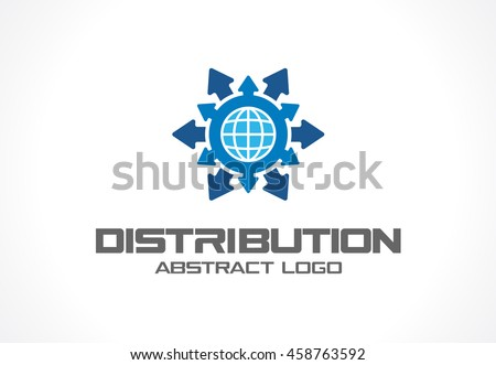 Abstract logo for business company. Corporate identity design element. Technology, Industrial, Logistic, Distribution Logotype idea. Arrow, globe, world, worldwide delivery concept. Vector icon