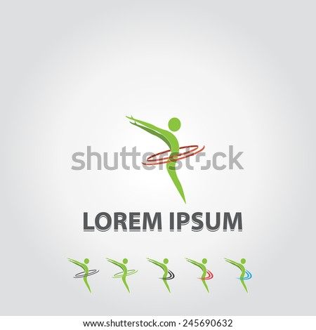 Abstract logo of a human ,concept of happiness, heath care,fitness