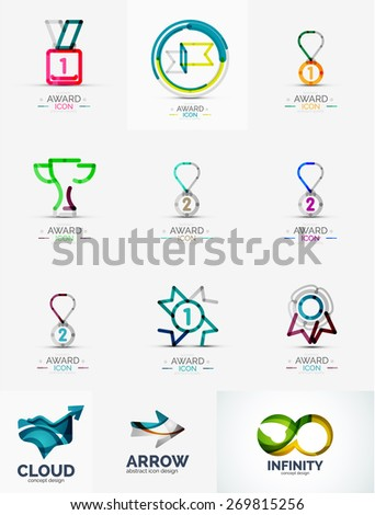 Abstract logo set, geometric transparent shapes, universal for any idea. Vector illustration - stock vector