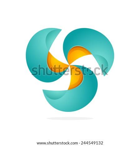 Abstract logo vector. 3 orange and green looped infinity logotype. Triple infinite loop. - stock vector