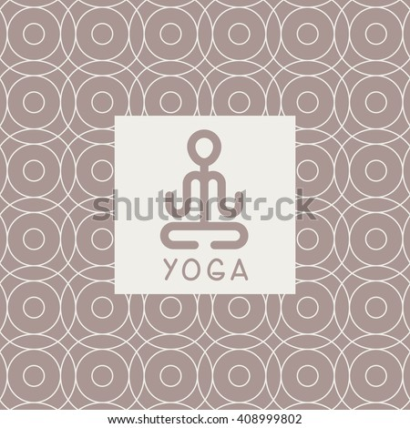 Abstract Lotus Pose Yoga Studio Design Card In Pastel Colors Flat Vector Design On Ornamental Background - stock vector