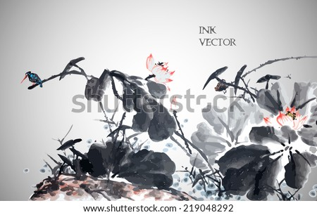 Abstract lotus. Vector illustration. Traditional Chinese Painting.  - stock vector