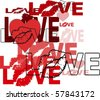 Abstract Love Design With Lips and Hearts - stock photo