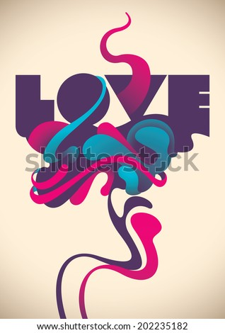 Abstract love poster. Vector illustration. - stock vector