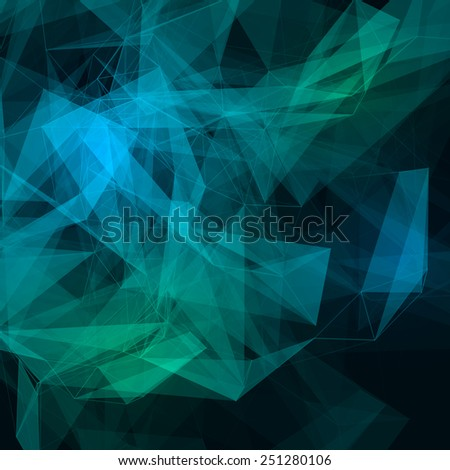 Abstract low poly dark bright technology vector background. Connection structure. Vector data science background. Polygonal vector background. Molecule And Communication Background. - stock vector