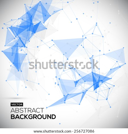 Abstract, low poly, Molecule And Communication Background. Abstract white bright technology vector background. Connection structure. Vector science background. Polygonal vector background - stock vector