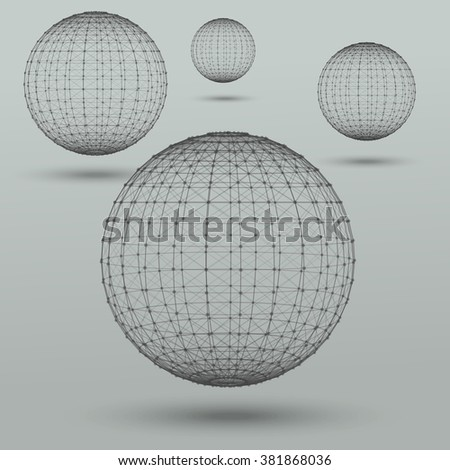 Abstract low poly polygonal spheres. Geometric technology vector design model. Polygonal  molecule background