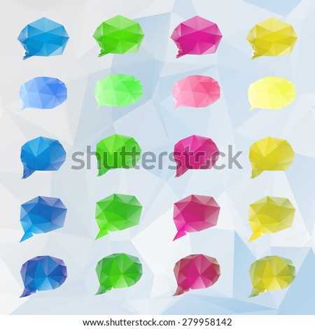 Abstract low-poly speech bubble vector background - stock vector