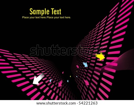 abstract magenta wavy background with colorful arrows - stock vector