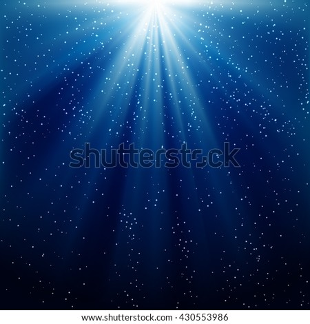 Abstract magic light background. Blue holiday burst - stock vector