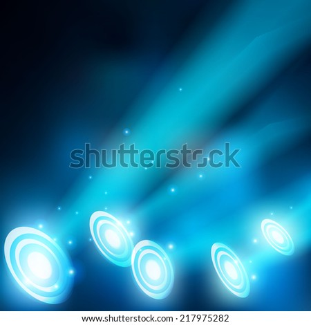 Abstract magic  light background. vector blue spotlights - stock vector