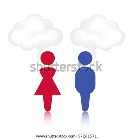 Abstract male and female cloud chat bubble. - stock vector