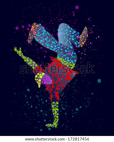 Abstract male dancer - stock vector