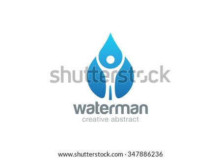 Abstract Man in Water drop Logo design vector template. Liquid droplet clear natural mineral aqua Logotype concept icon. - stock vector