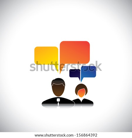 abstract man & woman employees icons with speech bubbles - concept vector. The graphic also represents employee meetings, executive discussions & interactions, workers chatting, office gossip, etc - stock vector