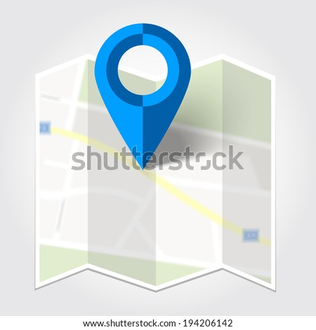 Abstract map and blue map marker - vector illustration - stock vector
