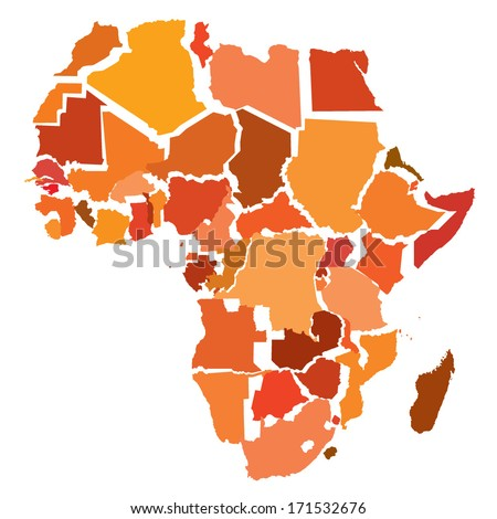 abstract map of Africa with separated countries - stock vector