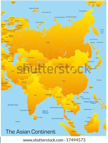 Abstract Map Asian Continent Stock Vector 17494573 - Shutterstock