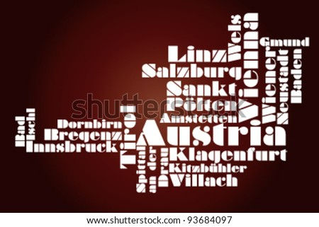 abstract map of Austria - word cloud - stock vector
