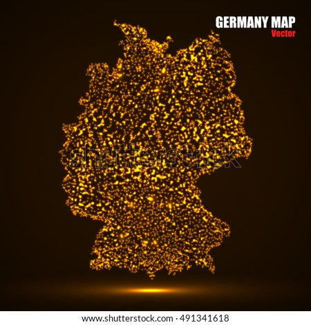Abstract Map Germany Glowing Particles Vector Stock Vector - Germany map eps