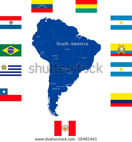 Abstract map of south america continent with countries flags