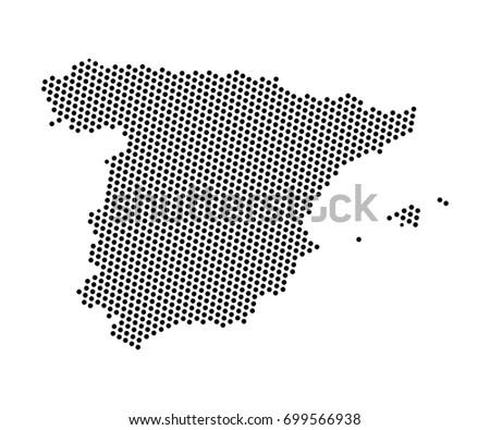 Abstract map spain dots planet lines vector de stock699566938 abstract map of spain dots planet lines global world map halftone concept vector gumiabroncs Image collections