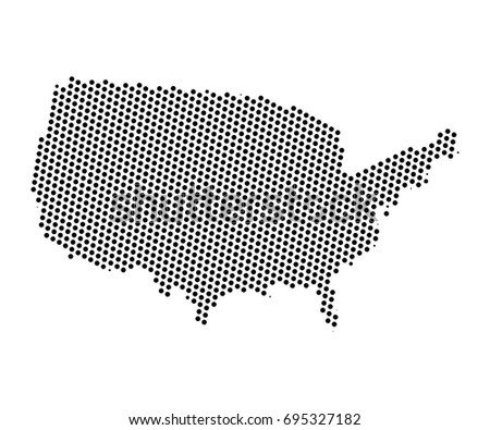 Abstract Map United States America Dots Stock Vector - Cool us map with dots