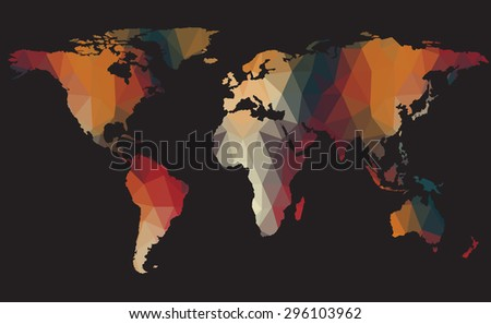 abstract map polygon style, Elements of this image furnished by NASA - stock vector
