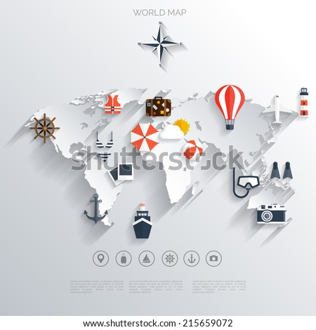 Abstract map.World travel concept background.  Flat icons. Tourism concept image.Holidays and vacation.Sea, ocean, land, air travelling. - stock vector