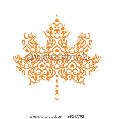 Abstract Maple Leaf Silhouette with Pattern. Vector