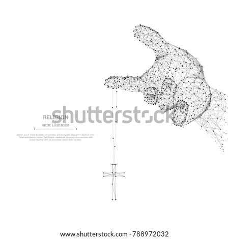 Abstract Mash Line Point Hand Holds Stock Photo Photo Vector