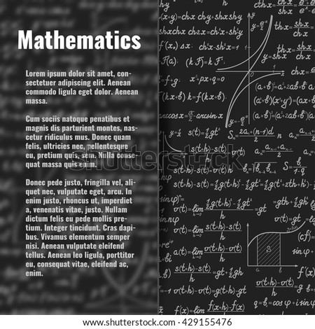 Abstract math vector background behind matt glass banner. Scientific backdrop with formulas, figures with copy space on silky glass board over - stock vector