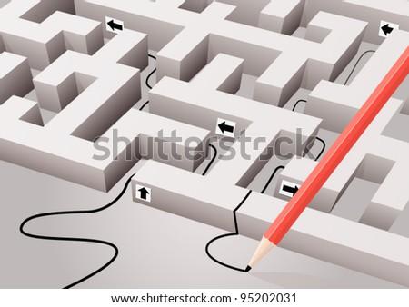 Abstract maze - stock vector