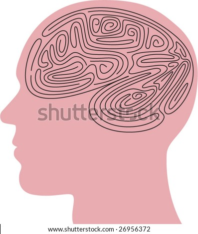 Abstract Maze in a silhouette head - vector illustration - stock vector