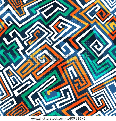 abstract maze seamless pattern - stock vector