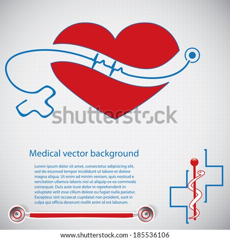Abstract medical cardiology ekg vector background  - stock vector