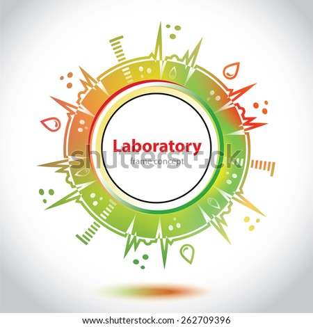 Abstract medical emblem - orange and green background - Science and Research - laboratory test - stock vector