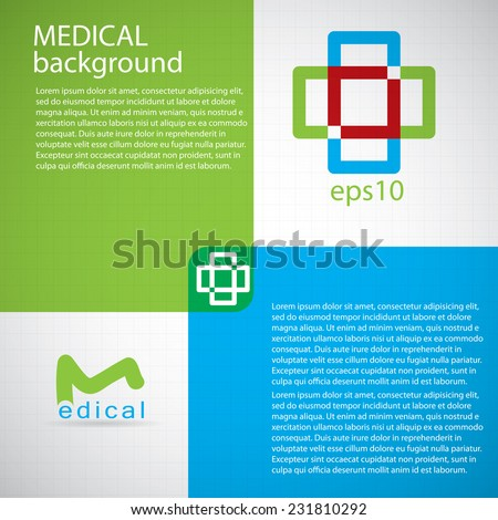 Abstract medical hospital pharmacy sign green blue editable background  - stock vector