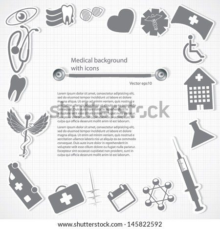 Abstract medical icons background white silver grid - stock vector