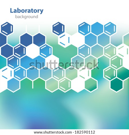 Abstract medical laboratory background - Science and Research - honeycomb pattern - chemical formulas - Universal element - Flat design - stock vector - sea-green version