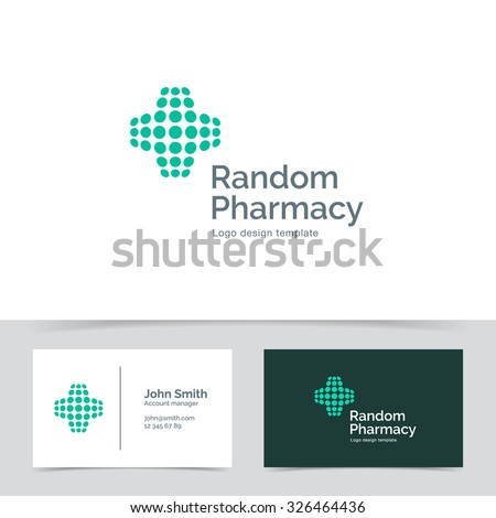 Abstract Medical logo template made of dots. Pharmacy Corporate branding identity - stock vector