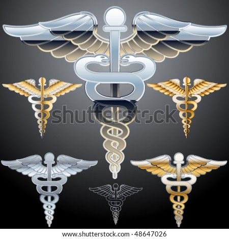 Abstract medical symbol. Chrome style - stock vector