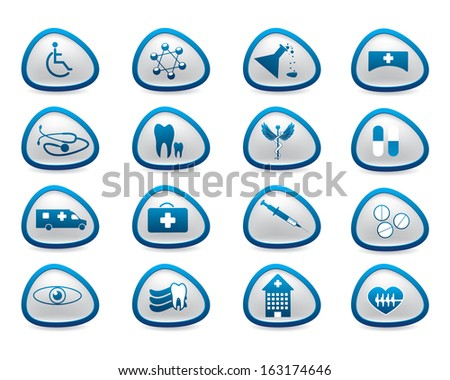 Abstract medical web blue icons - stock vector