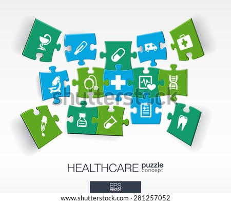 Abstract medicine background with connected color puzzles, integrated flat icons. 3d infographic concept with medical, health, healthcare, cross pieces in perspective. Vector interactive illustration. - stock vector