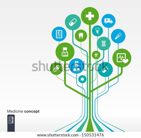Abstract medicine background with lines, circles and icons. Growth tree concept with medical, health, healthcare, nurse, tooth, thermometer, pills and cross icon. Vector illustration. - stock vector
