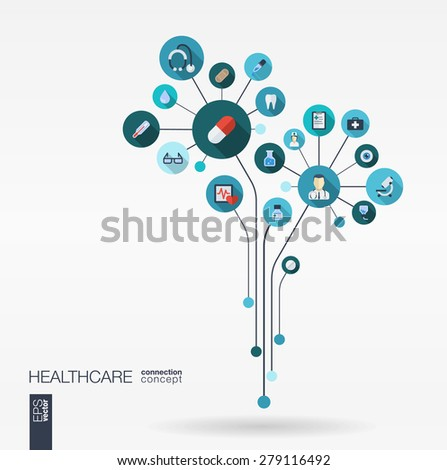 Abstract medicine background with lines, connected circles, integrated flat icons. Growth flower concept with medical, health, healthcare, thermometer and cross icon. Vector interactive illustration. - stock vector