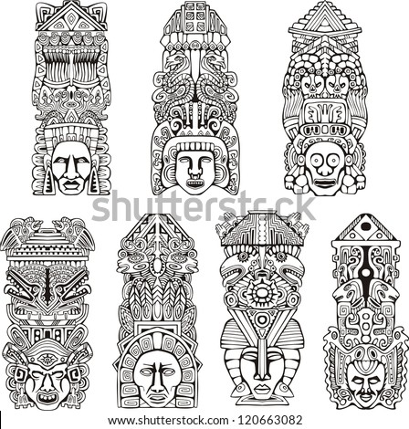 Abstract mesoamerican aztec totem poles. Set of black and white vector illustrations. - stock vector