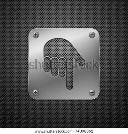 Abstract metal background. Download icon with hand.  Vector illustration. - stock vector